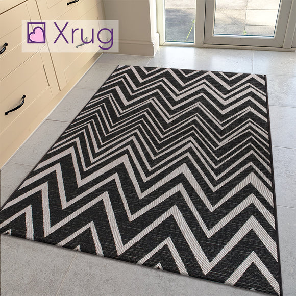 Grey Black Zig Zag Rug Flat Weave Jute Look Chevron Carpet Small Large Long Kitchen Hallway Runner Indoor Mat