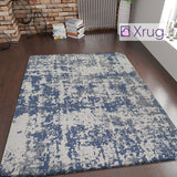 Cotton Rug Navy and Grey Flatweave Mottled Small Extra Large XL Woven Mat Living Room Bedroom Carpet Abstract Oil Painting Pattern