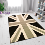 Grey Union Jack Rug Large 160x220 UK Flag Rugs Easy Care Carpets Floor Mat Black Cream Pattern New