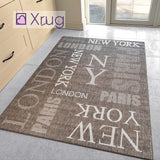 Modern Rug Brown Taupe Flat Weave Jute Look Carpet London New York Paris Pattern Kitchen Hall Indoor Carpet Mat