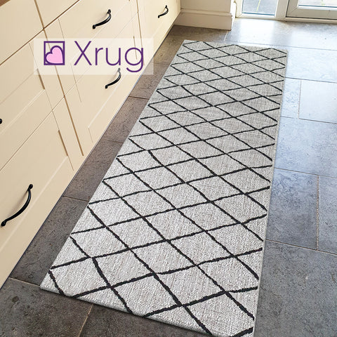 Grey Cream Rug Flat Weave Jute Look Berber Pattern Carpet Mat Small Large Runner