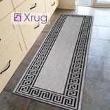Grey Rug Versace Style Pattern Jute Look Flat Weave Kitchen Small Large Runner
