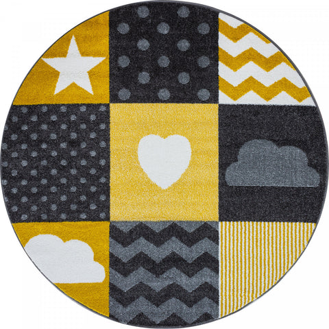 Kids Star Rug Yellow Grey Baby Nursery Play Carpet Childrens Bedroom Floor Mats