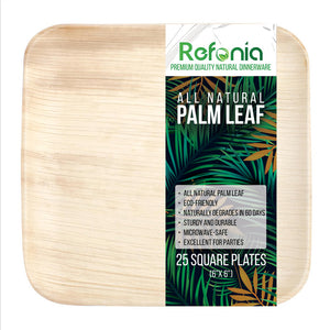 All Natural Palm Leaf Bamboo Plates - 25 Count