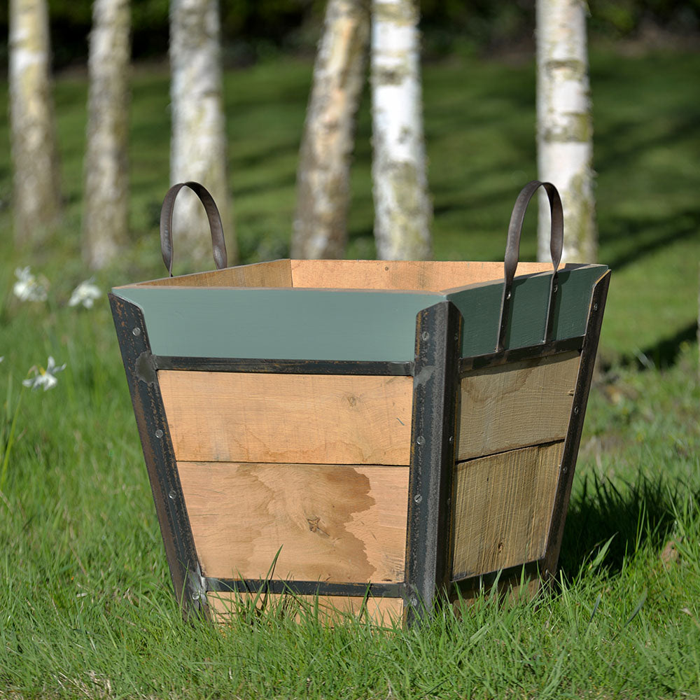 Planter - Square Champagne Crate With Green Smoke Rim - Rosara Outdoor Style