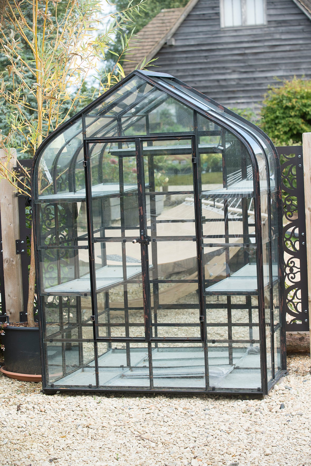 Pergola Wrought Iron and Stone 2.13m - Rosara Outdoor Style