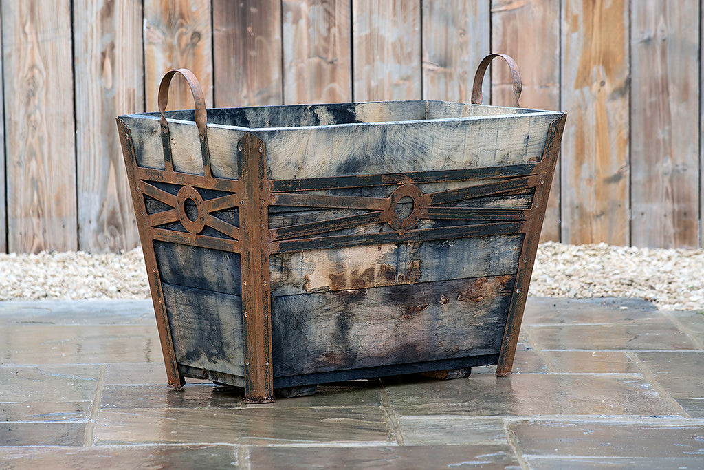 Planter - Large Champagne Crate With Middle Metal Cross Detail - Rosara Outdoor Style