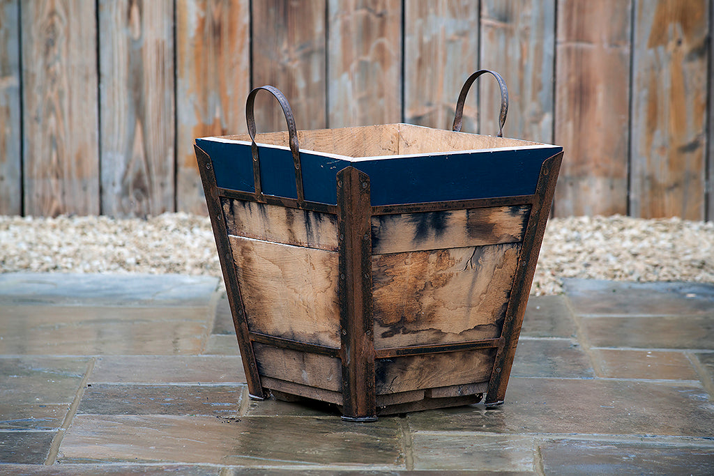 Planter - Square Champagne Crate With Hague Blue Rim