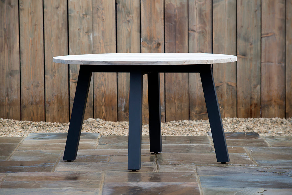 Derby Round Teak and Alu Table 130cm - Rosara Outdoor Style