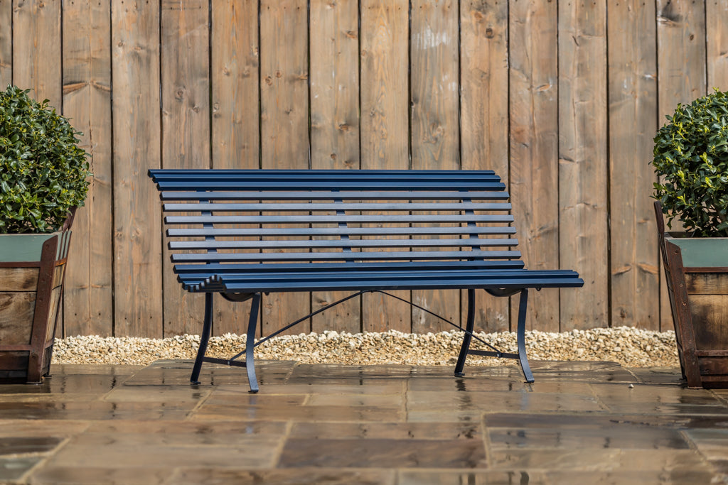 Louisiane Metal Bench Deep Blue 150cm