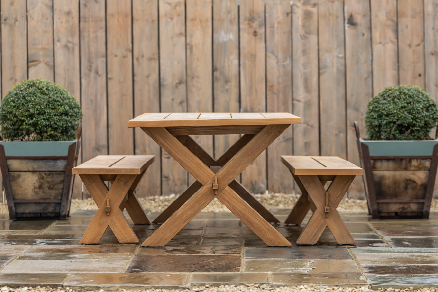 Provence Teak Table with Criss Cross Legs