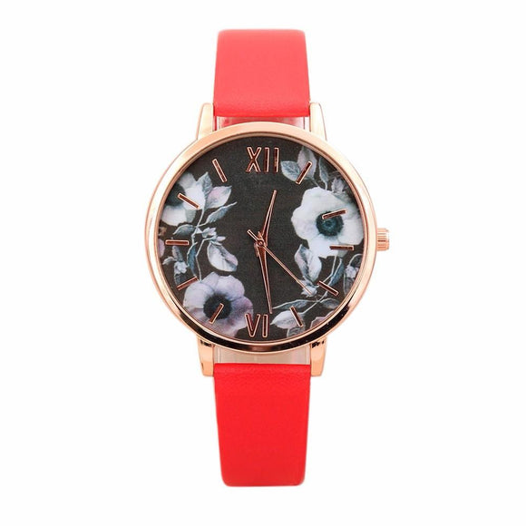 Elegant Floral Wrist Watch (click To See Other Color Options)