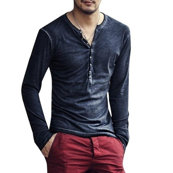 Mens Stylish V-neck Long Sleeve Shirt