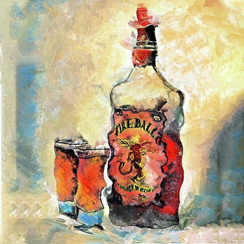 """FIREBALL"" Wall Art Painting 8""x12"" Dye Infused Metal ready to Hang"