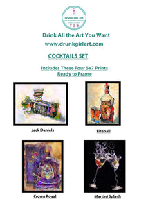 Cocktails Art Paintings 4 5x7 Prints Ready to Frame