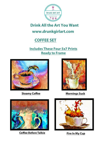 Coffee Art Paintings 4 5x7 Prints Ready to Frame