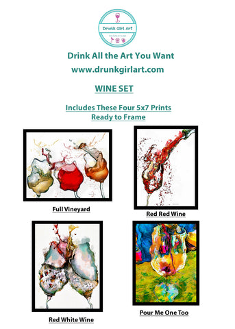 Wine Art Paintings 4 5x7 Gift