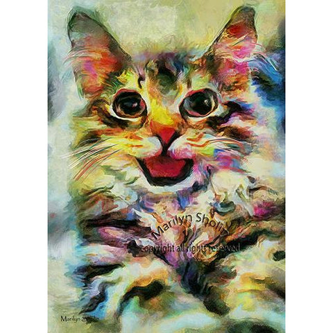 Smiley Kitty Cat Painting