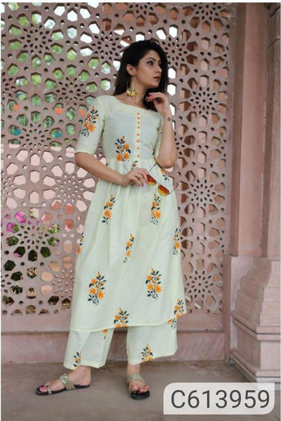 Adorable Cotton Printed Kurti & Palazzo Set