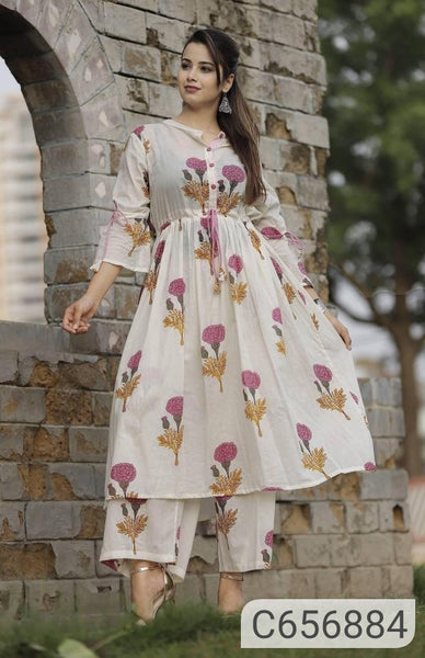 Trendy Cotton Printed Calf Length Kurti Palazzo Sets