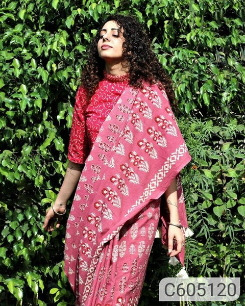 Affordable Cotton Mulmul Block Printed Sarees
