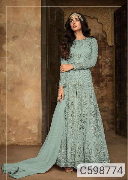 Glamorous Soft Net Floral Embroidered Anarkali Suits