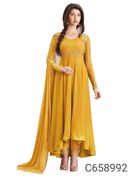 Festive Faux Georgette Embroidered Semi-Stitched Anarkali Suit
