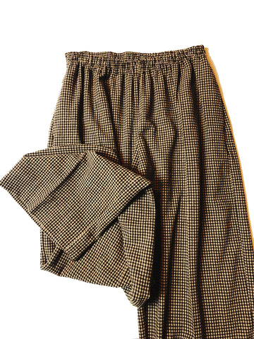 VICHY WOOLEN TROUSERS WITH TRIPLE ELASTIC LOW WAIST