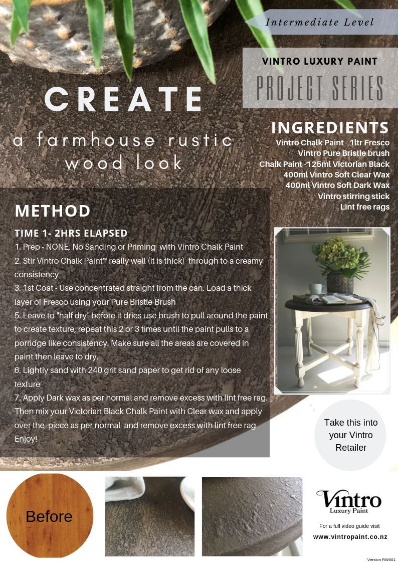 Create a farmhouse rustic wooden top