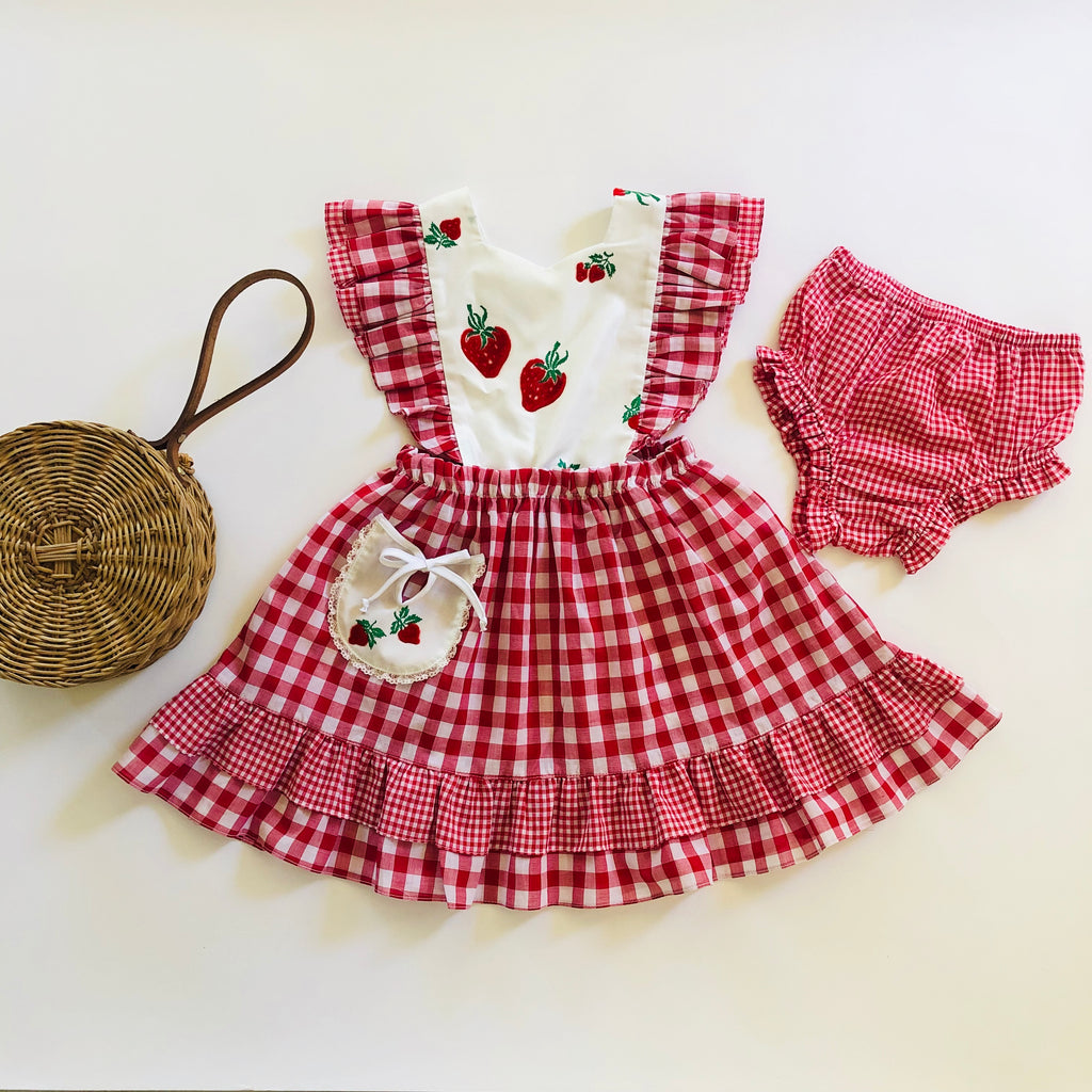 Flocked Strawberries Dress