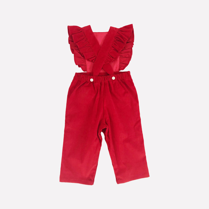 Colette Red Corduroy Pinafore Overalls