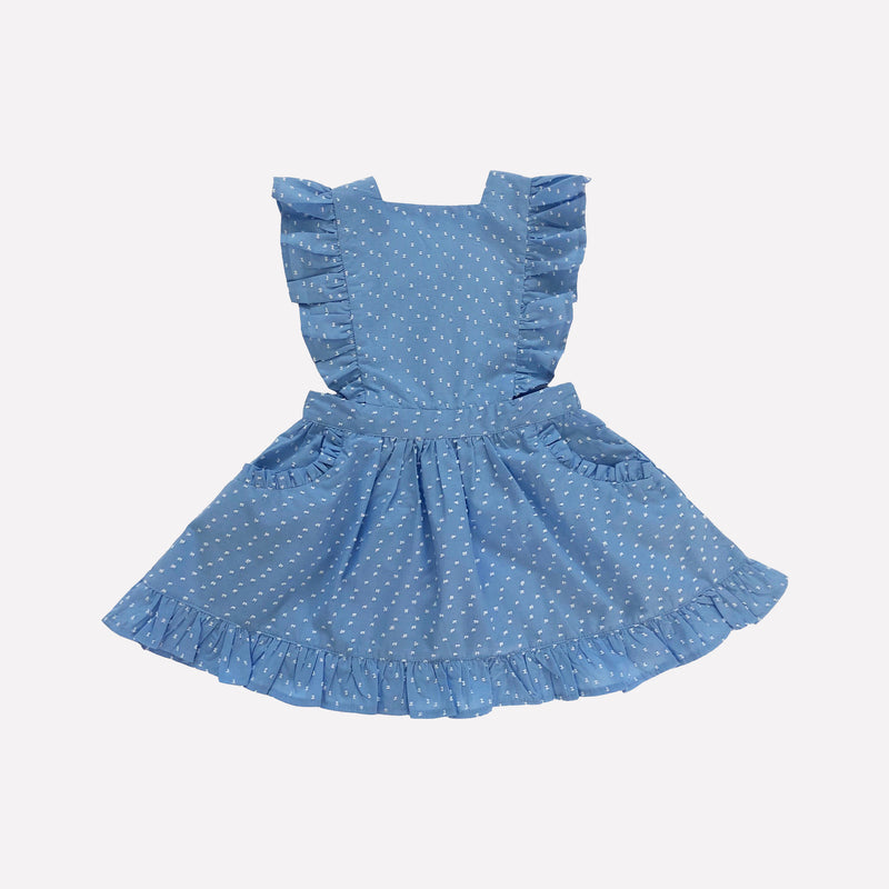 *Pre-Order* Blue & White Swiss Dot Pinafore Dress