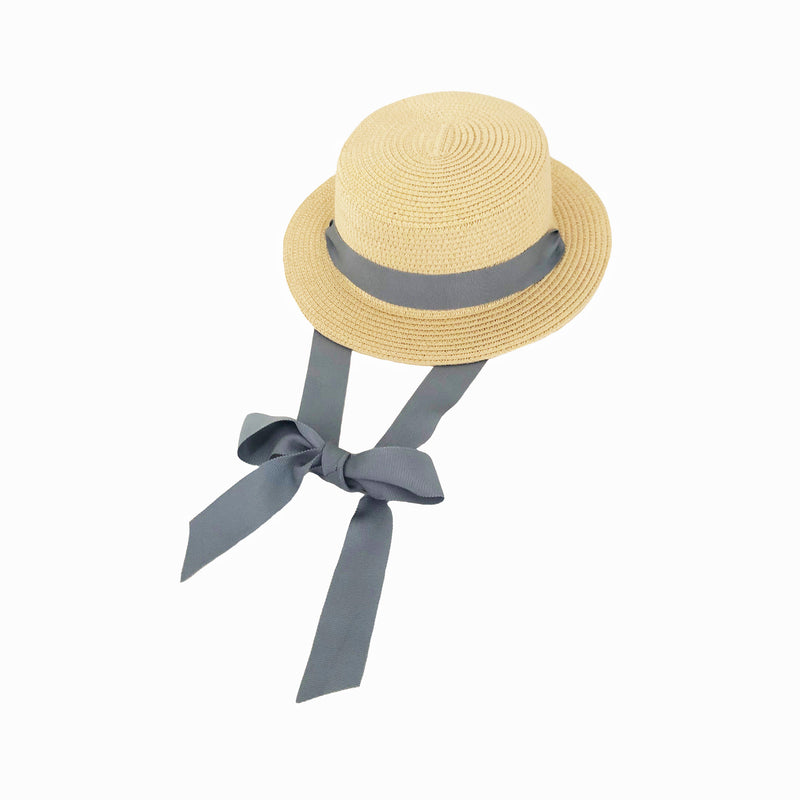 Blonde Straw Hat with Denim Blue Ribbon Tie