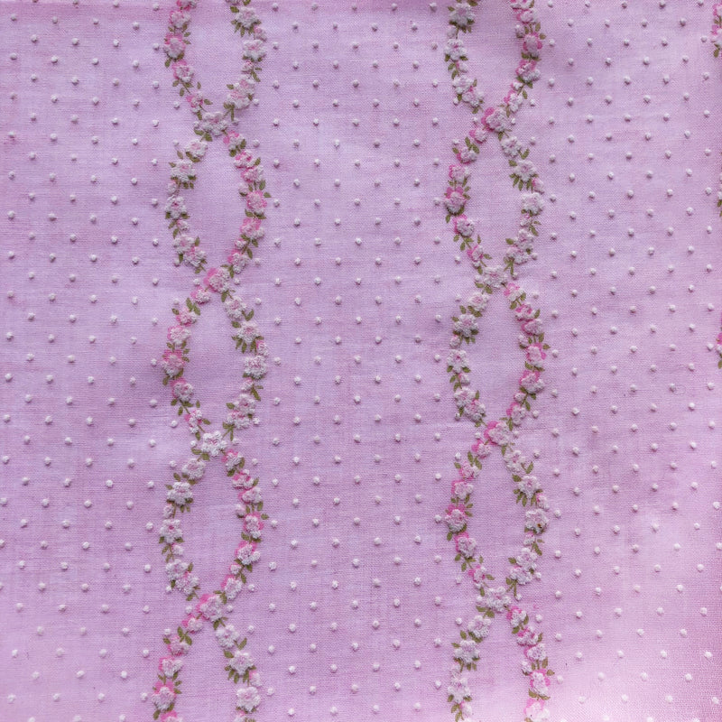 Custom Vintage Item - Flocked Pink Floral Vines & Dots