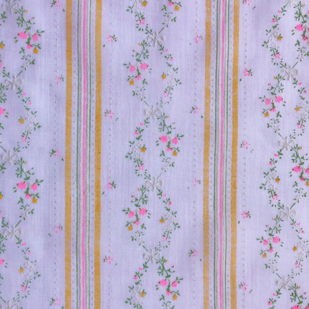 Custom Vintage Item - Flocked Pink Floral Vines & Stripes
