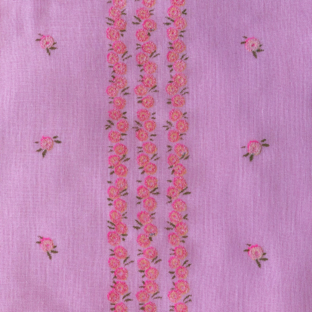 Custom Vintage Item - Pink Flocked Rosebuds