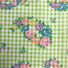 Custom Vintage Item - Green Gingham with Rainbow Flocked Floral