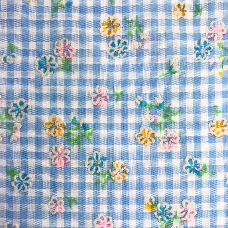 Custom Vintage Item - Blue Gingham Rainbow Flocked Flowers