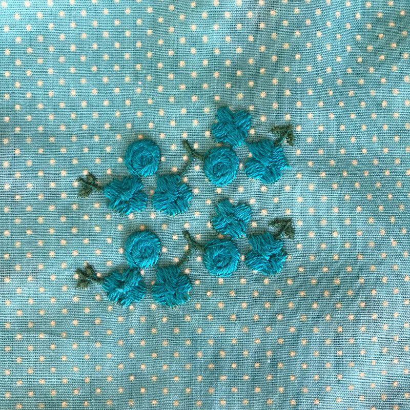 Custom Vintage Item - Blue Embroidered Flowers with Flocked Dots