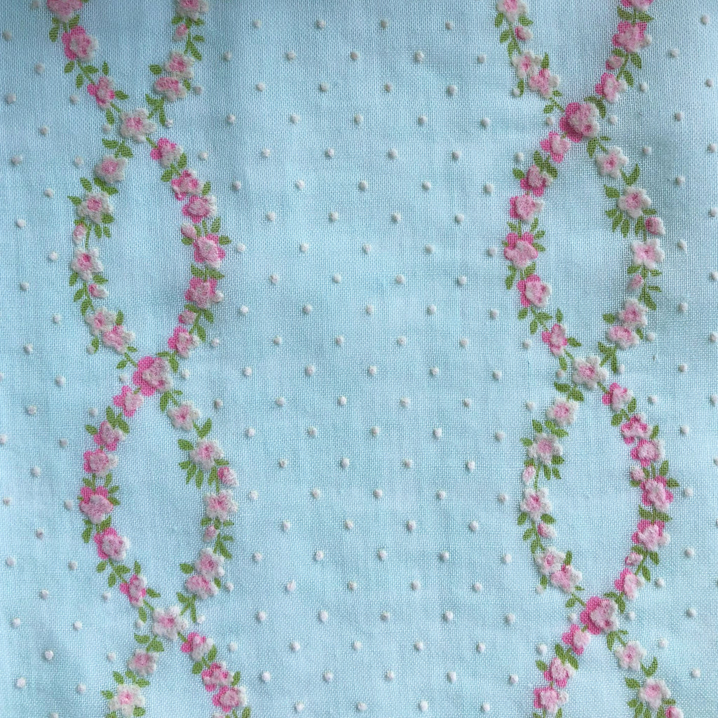 Custom Vintage Item - Flocked Blue Floral Vines & Dots