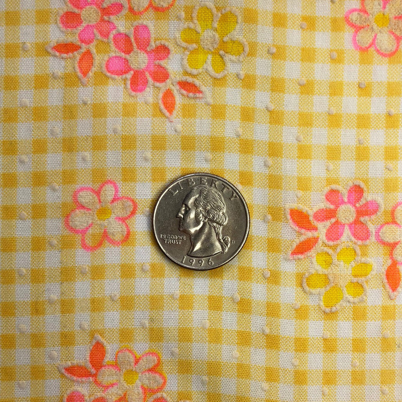 Custom Vintage Item - Gingham Pink & Yellow Daisies