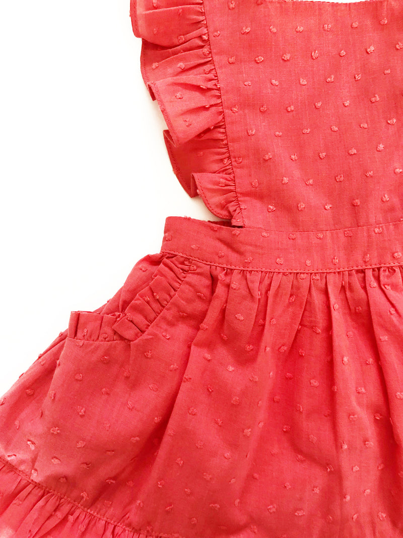 Colette Coral Swiss Dot Pinafore Dress