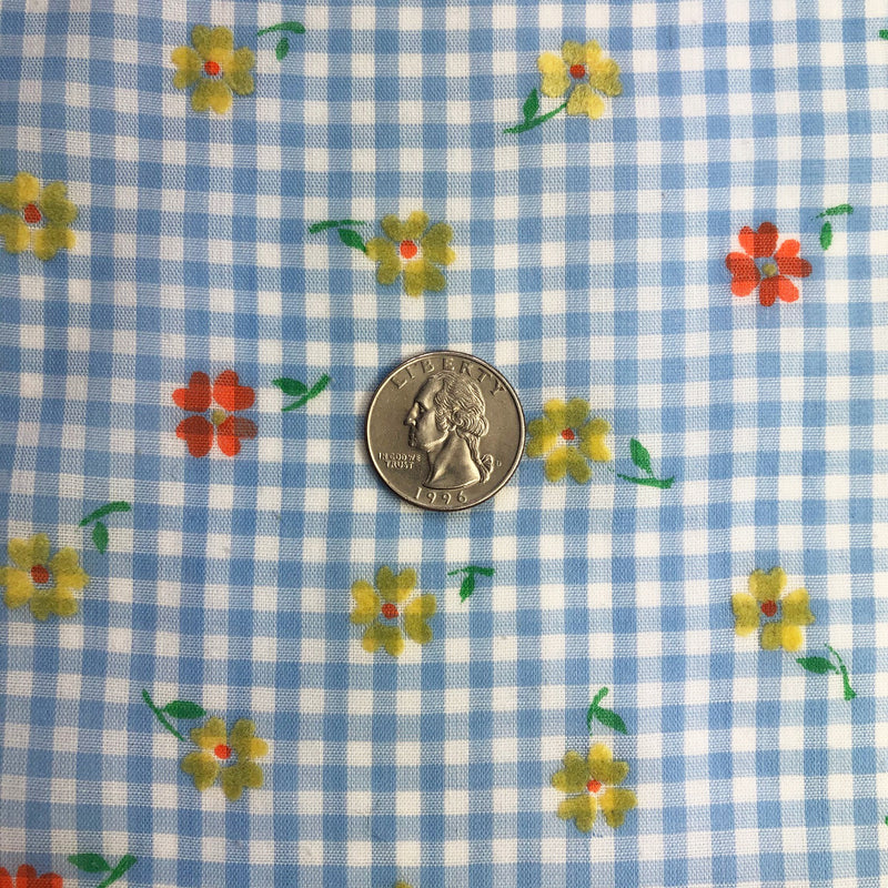 Custom Vintage Item - Blue Gingham & Yellow Flocked Flowers