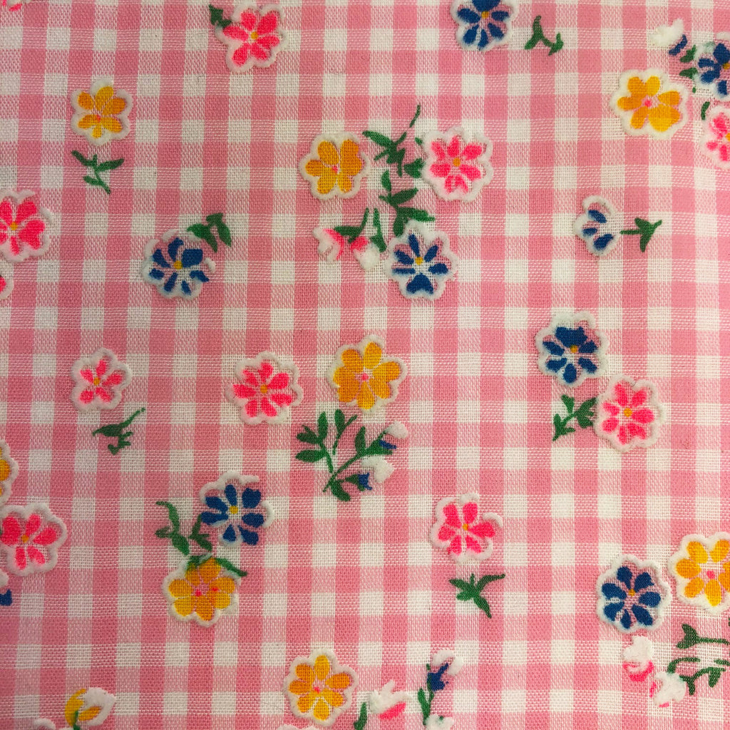 Custom Vintage Item - Pink Gingham Flocked Floral