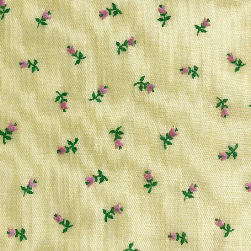 Custom Vintage Item - Flocked Rosebuds