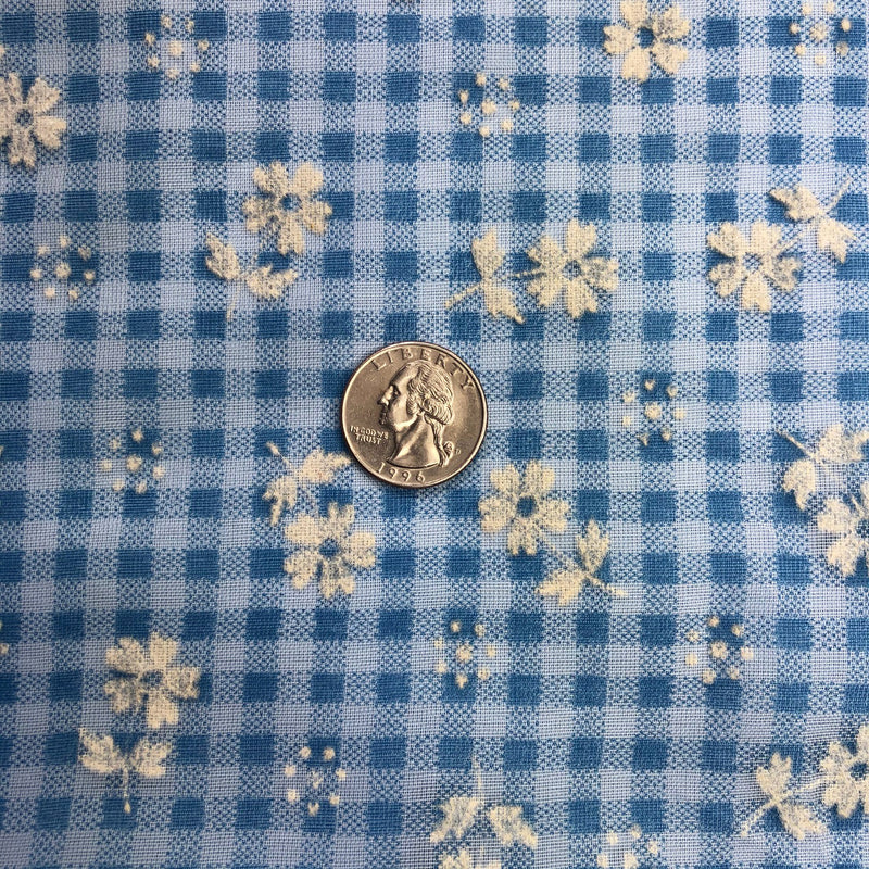 Custom Vintage Item - Blue Gingham Flocked Floral