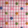Custom Vintage Item - Sheer Pink Daisy Stripes