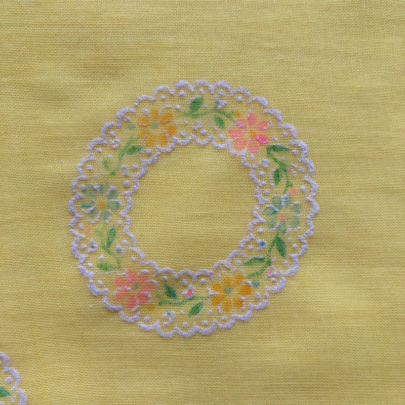 Custom Vintage Item - Buttercup Flocked Floral Wreaths