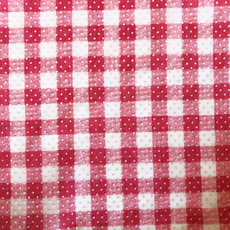 Custom Vintage Item - Red Flocked Gingham