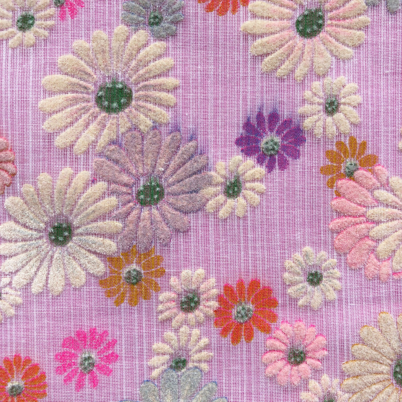 Custom Vintage Item - Flocked Daisy Blooms #2